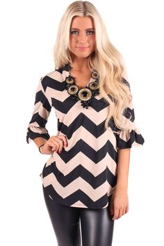 39e563a6df Lime Lush Boutique - Black and Taupe Chevron Print Top