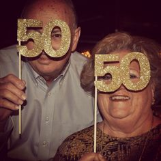 50th wedding anniversary fun. Glitter 50 on a stick. Cannot believe my parents have been married 50 years.
