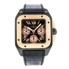 Cartier Santos 100 XL W2020005 Chronograph 18k Gold, Titanium & Steel Mens Watch #Cartier