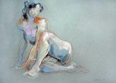 redlipstickresurrected:  Raluca Vulcan (Romanian, b. 1967, Romania, based France) - Etonnée, 2006  Paintings: Pastels on Paper