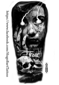 skull zombie scarry design girl  book horror fear tattoos black and grey
