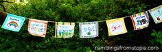 Prayer flag made by kids.  Love this idea!!!