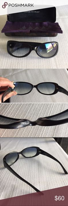 """Oliver Peoples model Jolie sunglassses, worn. Authentic Oliver Peoples sunglasses model Jolie. Bought in Asia so these are for small nose bridge. Measurements: 5.25"""" L x 1.5""""H. Previously worn, some smudges from sunblock that I tried to remove. Please see pictures and let me know if you need more pics or have questions. Oliver Peoples Accessories Sunglasses"""
