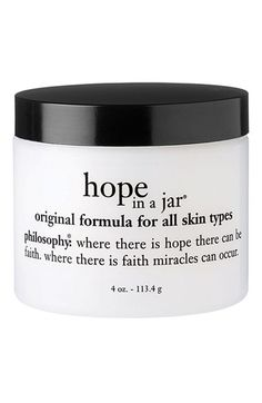 Free shipping and returns on philosophy 'hope in a jar' for all skin types at Nordstrom.com. philosophy hope in a jar is a world-renown multitasking moisturizer loaded with antioxidants and formulated with a unique soufflé texture. Originally created for the medical market to reduce the appearance of wrinkles, skin discoloration, rough texture and dehydration, the formula contains gentle alpha hydroxyl acids that dramatically improves skin radiance and gently exfoliates, revealing smoother…