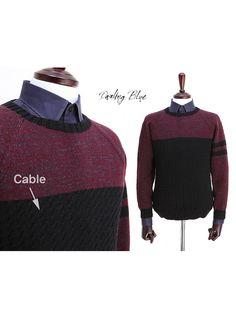 Color block men pulloverMen knit pulloverMen by KnittingbyDB