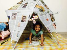 Awesome project . Great building and construction exercise !! Made a life size fort/tent solely with newspaper .next project --> decorating and coloring the structure !