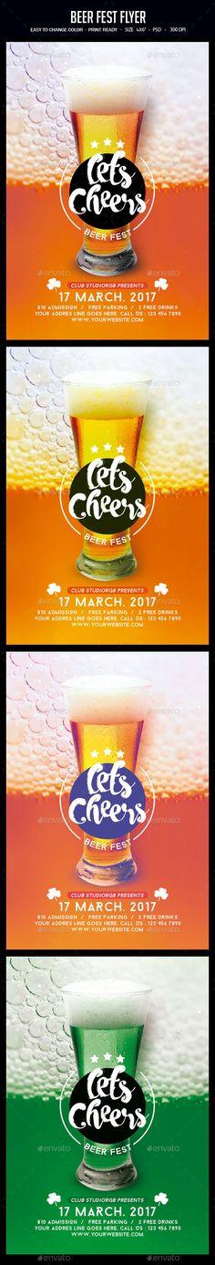 Beer Fest #Flyer - Clubs & Parties #Events Download here: https://graphicriver.net/item/beer-fest-flyer/19464909?ref=alena994