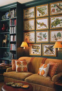 elegant classic interior livingroom drawingroom botanic art