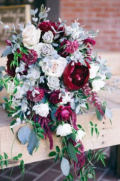 Peonies and Roses - Wine, mulberry, berry, marsala... whatever you like to call this color, it pairs lovely with the soft hues of grey from the eucalyptus and succulents. Garden cascade bridal bouquet - Simply Regal by Julie