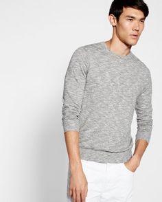 marled slub crew neck sweater