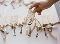 Vintage key name placements, then add a hand-written name tag to it with a ribbon tied in a bow. Also, could be taken home with guest for a wedding favour so it has double its use.