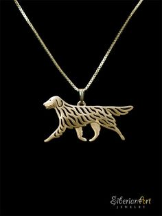 An unique Flat-Coated Retriever pendant & necklace, designed by Amit Eshel. This delicate fine jewelry will keep your best buddy close to your
