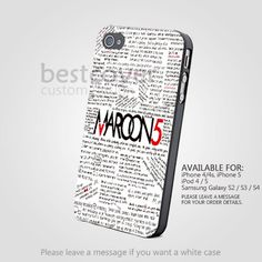 Maroon 5 Quote for iPhone 4/4S/5 iPod 4/5 Samsung Galaxy S2/S3/S4 | BestCover - Accessories on ArtFire