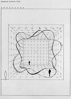 Madelyn's Comments: Bernhard Leitner's Soundcube, creates a way for the audience to sit in sound. Graphic Score, Sound Sculpture, Sound Installation, Sound Art, Generative Art, Architecture Drawings, Architecture Diagrams, Love Drawings, Data Visualization