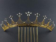 A georgian yellow gold tiara with old-cut diamonds, circa 1820.