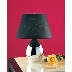 Laura Ashley Lighting Tierney Table Lamp with Kurt Shade in Mirrored