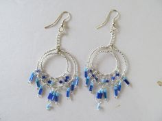 Blue Wire Wrapped Chandelier Earrings by TheHempChick on Etsy