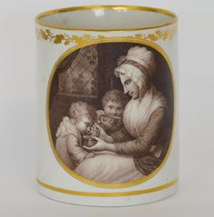 "LOT 480: FLIGHT & BARR: A good large mug with oval panel of mother feeding children inscribed to base ""Breakfast"" with gilt decoration. Approx. 13.5 cms high. Est. £300 - £500. Hammer price: £480. SOLD in our #Silver #Jewellery #Toys and #Railwayana #Auction on Thursday 25th May inclusive of  #Watches #Collectables #Pictures #China and #Antique #Furniture #May25#whittonsauctions #Honiton #pin #twitter"