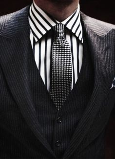 Charcoal 3 piece suit pattern blocking.  Bold yet understated.
