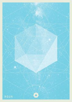 Geometria Elemental by Juan Manuel Yañez. Posters with pastel colors and geometric graphics represent the theory of elements such as earth, water, fire, and air. The artist characterizes each color a part of life.