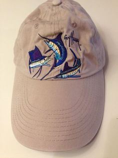 c72edb2cf95 GUY HARVEY Fish FISHING HAT Grand Slam Visor 3 Marlin embroidered khaki  velcro
