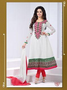 White Color Faux Georgette Semi Stitched Anarkali