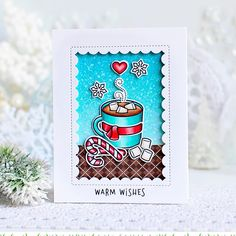 It might be the middle of summer but I'm thinking of hot cocoa! Kay's gorgeous card features our new Thanks a Latte set and a Reverse Stitched Scalloped Rectangle Window die! Check out all the awesome new products today at the blog; link in profile. #lawnfawn #sneakweek #cardmaking #papercraft