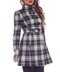 Monochrome wool blend checked coat by Simonette on secretsales.com