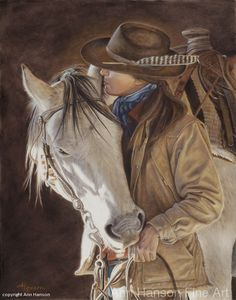 """Beautiful horse painting of girl with a feather in her hat whispering in animals ear. Title, Horse Whispers by Ann Hanson Oil ~ 14"""" x 11"""". Please also visit www.JustForYouPropheticArt.com for more colorful art you might like to pin. Thanks for looking!"""