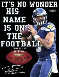 "Scripture reference in Russell Wilson's autograph is John 3:30 - ""He must increase, but I must decrease. [He must grow more prominent; I must grow less so.]"" (Amplified Bible Version) :-D"