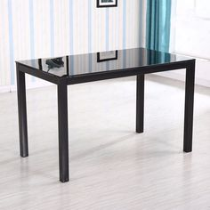Glass Rectangular Dining Table Metal Legs Breakfast Kitchen Dining Room - Table - Ideas of Table Glass Dining Table Rectangular, Rectangular Living Rooms, Modern Glass Coffee Table, Small Dining Area, Coffee Table Rectangle, Metal Dining Table, Counter Height Dining Sets, Dining Table Design, Dining Table In Kitchen