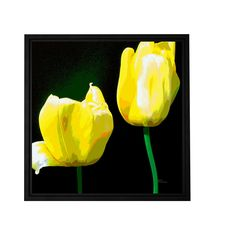 'Yellow Tulips' by Herb Dickinson Framed Painting Print on Wrapped Canvas