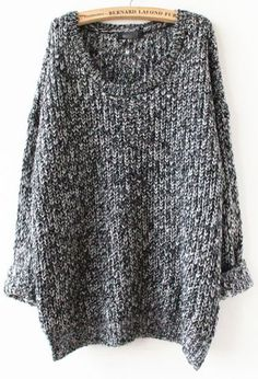 Grey Long Sleeve Loose Sweater pictures