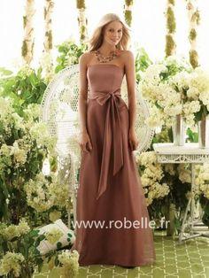 Robe de Demoiselle d'Honneur Pas Cher Longue Fourreau Sans Bretelles Longueur au Sol en Ceinture/Ruban en Mousseline