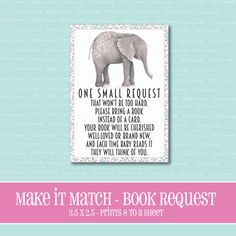 Make It Match ElephantBABY Shower BOOK by ThePeachandPineapple