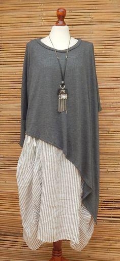 Lagenlook wool oversize asymmetrical knit jumper/poncho*grey marl*size10-20 osfa