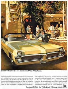 https://flic.kr/p/bLDzFB | Pontiac Bonneville '67 | Pontiac Bonneville Does Pontiac have a one-track mind? Yes. Wide-Track. Ponitac 67 / Ride the Wide-track Winning Streak  Advertisment by General Motors (1966) Illustration by Art Fitzpatrick & Van Kaufman