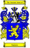 Santoro Coat of Arms / Santoro Family Crest  This Italian surname of SANTORO was a nickname or given name bestowed on someone who was born o...