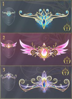 Tiaras of Destiny Anime Weapons, Fantasy Weapons, Fantasy Drawings, Fantasy Artwork, Magical Jewelry, Weapon Concept Art, Fashion Design Drawings, Magic Art, Fantasy Jewelry