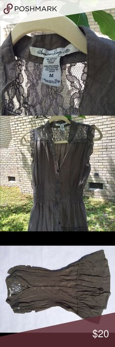 American Rag Button down Dress/tunic Good used condition. No stains or pulling in fabric. Lace detail at shoulders is in perfect condition. Army green in color. 30 inches in length American Rag Dresses Mini