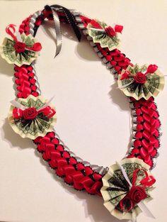 SALE Crimson Deluxe Braided Ribbon Money Lei by HiSeaLife on Etsy, $40.00