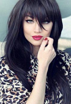 long black hair, cool tone dark hair, full bang, straight across bangs, cat eye liner, bold red lip.