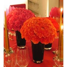 OK, I love carnations but after reading an article on another wedding site. The article stated that carnations are very cheap looking and. Tangerine Wedding, Orange Wedding Flowers, Fall Flowers, Carnation Centerpieces, Diy Centerpieces, Carnations, Centrepieces, Carnation Wedding, Online Flower Shop