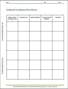 printable art worksheets textbook vocabulary word boxes free printable ela worksheet - Free Printable Art Worksheets
