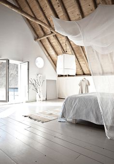 Inspirational ideas about Interior Interior Design and Home Decorating Style for Living Room Bedroom Kitchen and the entire home. Curated selection of home decor products. Dream Bedroom, Home Bedroom, Bedroom Decor, Airy Bedroom, Minimal Bedroom, Bedroom Ideas, Budget Bedroom, Bedroom Loft, Master Bedroom