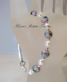 Pink Cloisonne White Swarovski Pearl Beaded by ArtisticTouches, $12.00