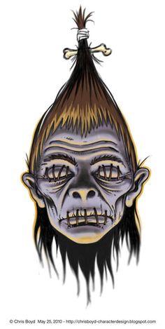 Shrunken head Tattoo design by NelsonTWaters on DeviantArt Zombie Drawings, Dark Art Drawings, Voodoo Doll Tattoo, Voodoo Dolls, Creepy Tattoos, Head Tattoos, Shrunken Head Tattoo, Tiki Maske, Mask Drawing