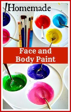 Homemade Face and Body Paint - Recipe uses corn starch, lotion or cream, water and store brand liquid food color. #kidsactivities #activityideas