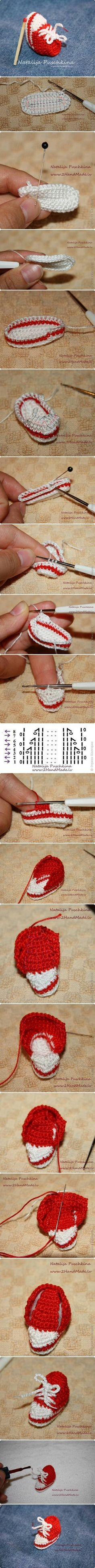 How to make Mini Crochet Sneaker step by step DIY