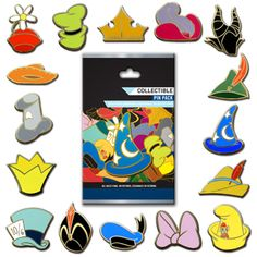 disney trading pin sets | Disney Character Hats Pin Set - Collectible Pin Pack - 5 Random